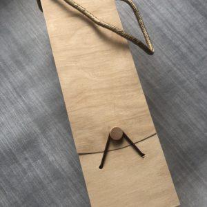 Coffret en bois neutre avec poignée pour offrir 1 bouteille de vin - 9,5 x 8,5 x 32,5